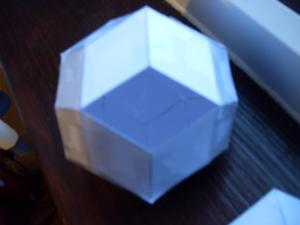 Rhombic triacontahedron, with one face missing