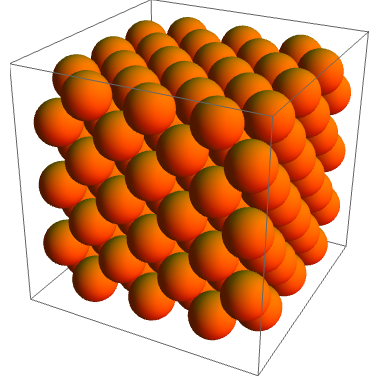 The FCC lattice, which locally resembles the hexagonal close packing