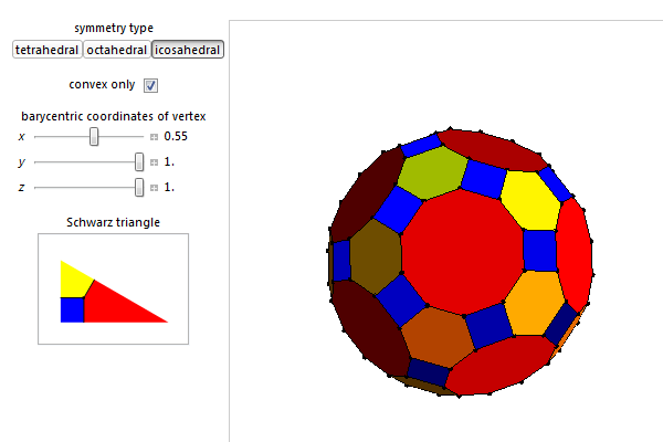 The omnitruncated dodecahedron, as rendered in my Wolfram demonstration (image links to interactive applet).